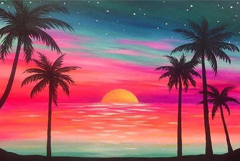 Summer Beach Sunset Landscape Paint By Numbers Sunset Landscape Painting Sunset Painting Beach Sunset Painting