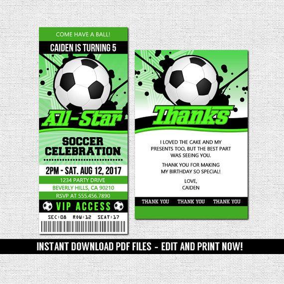 Soccer Football Ticket Invitations Birthday Party - (Instant - ticket invitation