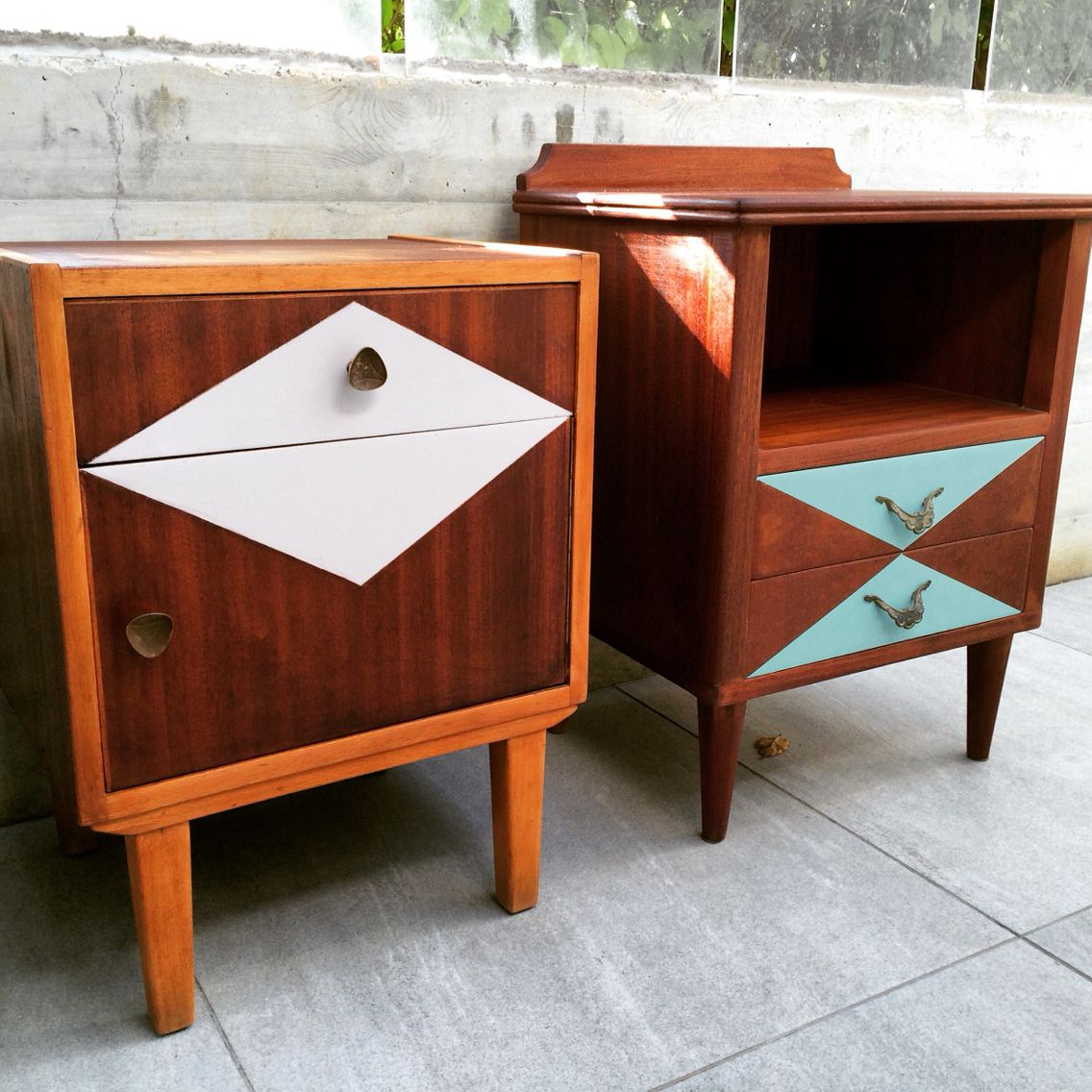Two Cute Little 70 S Bedside Tables Repainted With Geometric