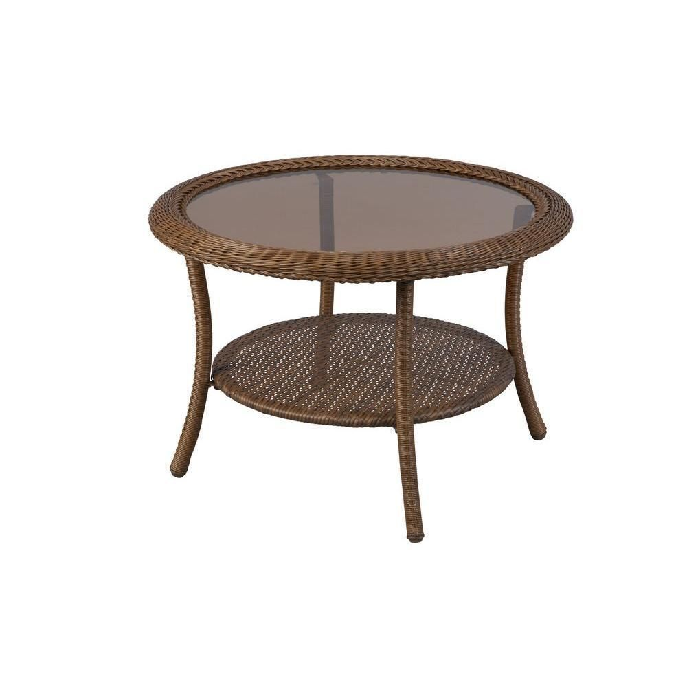 Outdoor Patio Coffee Table Wicker Designed Glass Top Round Shape