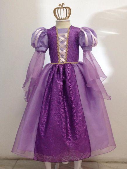 313ccdabba832 Fantasia princesa Rapunzel enrolados Vestidos D Niña