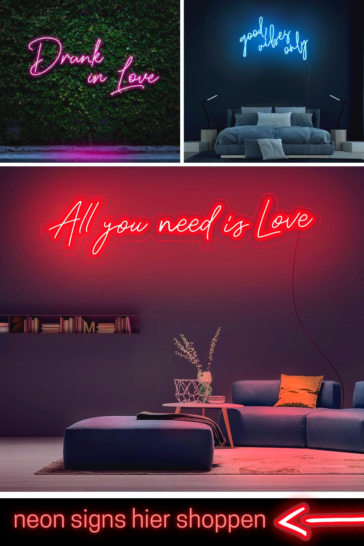 Neon Leuchtschriftzüge verleihen deinen vier Wände einen stylischen Look. Sind die leuchtenden Highlights richtig in Szene gesetzt, wird aus deinem Wohnzimmer oder Schlafzimmer ein inspirierendes, futuristisches Neon Zimmer. Entdecke eine große Auswahl bei Lieblingsleuchten.de