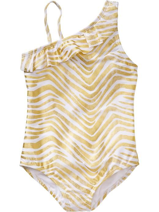 756fc28bf3 Cute   inexpensive Gold Zebra Striped Girls Swimsuit - check out this and  other must-have bathing suits for summer!
