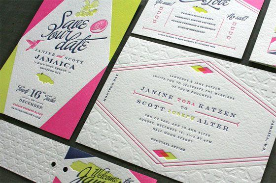 Jamaica Wedding Invitations: Janine + Scott's Geometric Jamaica Wedding Invitations