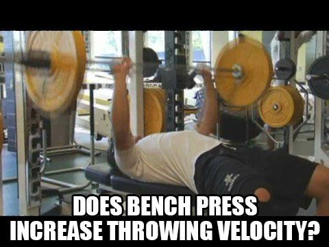 Studies Prove Bench Press Increases Throwing Velocity  http://www.topvelocity.net/studies-prove-bench-press-increases-throwing-velocity/