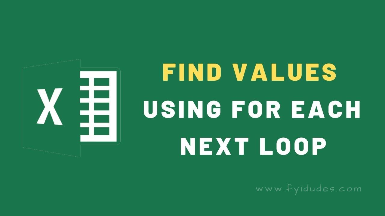 excel #vb #macro How to find values using for each next loop