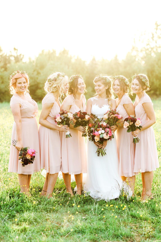 Pastel pink bridesmaid dress  Rustic Thames Chase Barn Wedding with Pastel Pink Bridesmaids