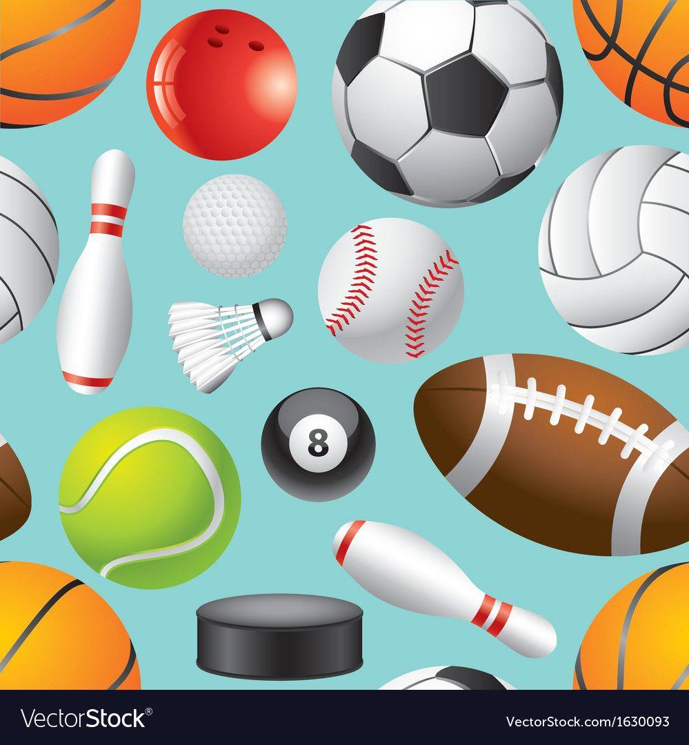 Sport Balls Background Seamless Vector Image On Seamless Background Sports Balls Sports