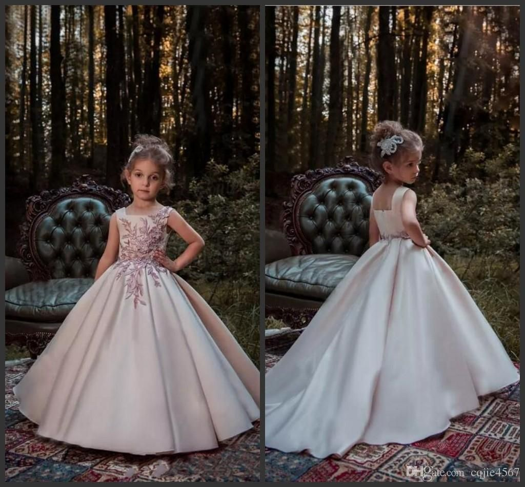 d034b0c222e Blush Pink Princess Flower Girl Dresses 2018 New Lace Applique Beads  Sleeveless Long Sweep Train Satin Girls Pageant Gowns Formal Wear 656  Clothes For Girls ...