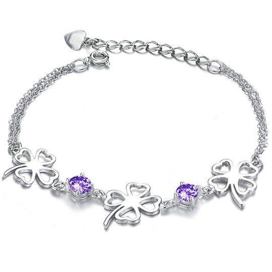 Rhodium Silver Purple Cubic Zirconia Bracelet