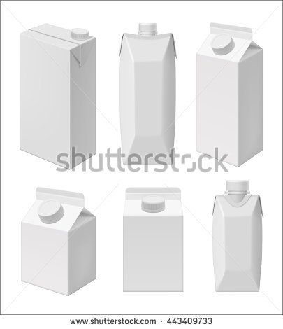 Carton Milk Or Juice Pack Template Blank Packaging Isolated On White Background Mock Up Layout Design Drink Cart Packaging Template Milk Packaging Templates
