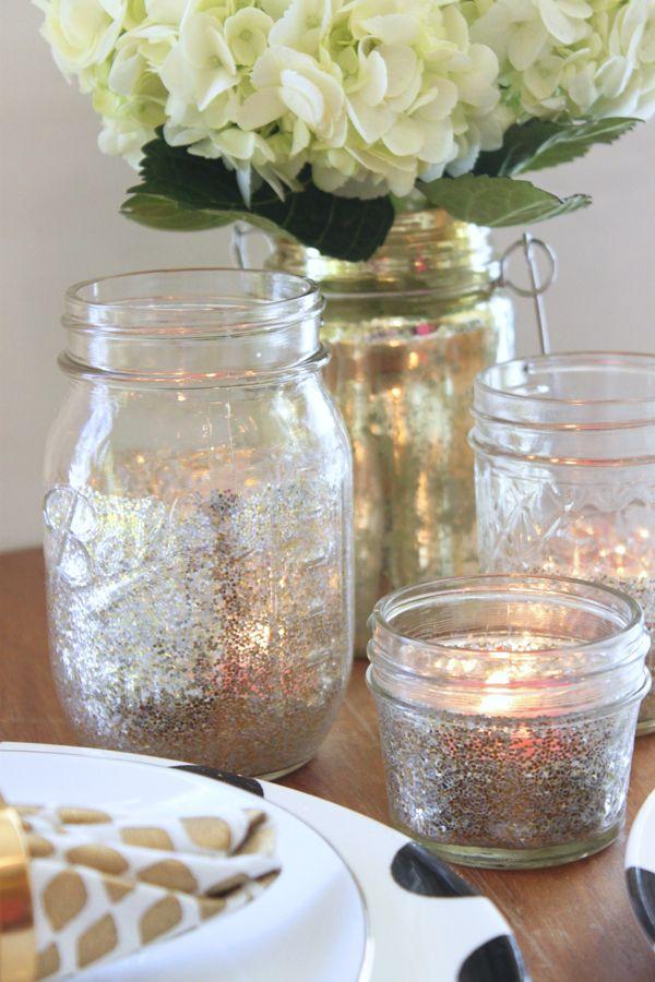 Diy Glitter Mason Jar Tea Lights Mason Jar Tea Lights Wedding Centerpieces Mason Jars Glitter Mason Jars
