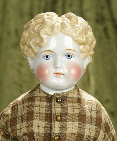 23 German Porcelain Doll With Blonde Sculpted Short Hair