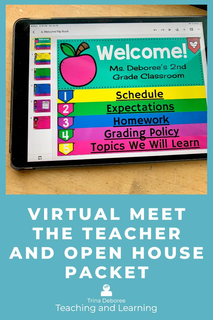Digital Virtual Open House Welcome Flipbook Meet The Teacher Back To School Night Teaching Third Grade