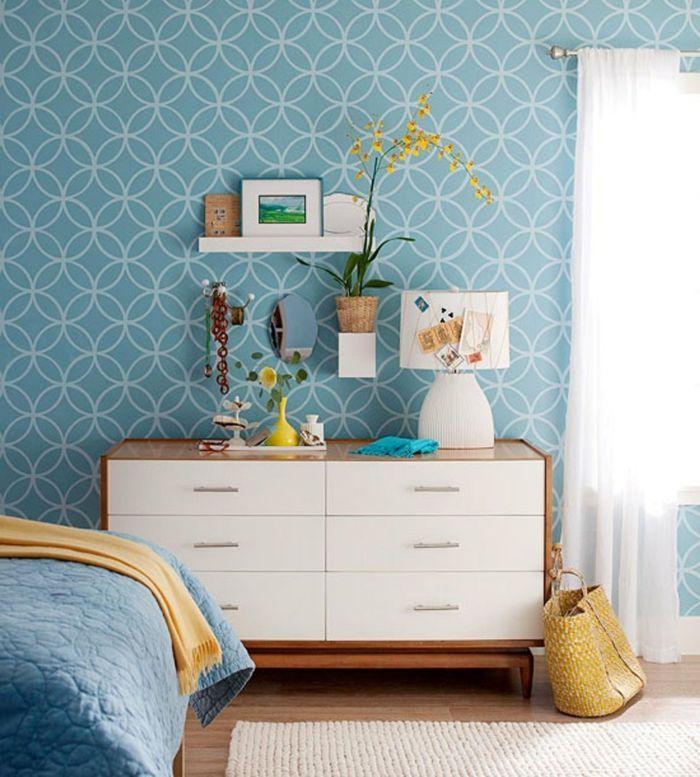 schlafzimmer tapeten blau heller teppichläufer kom (mit
