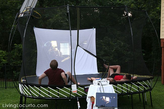 Outdoor Movie Night Ideas with Springfree Trampoline. Get free party  printables and learn about the - Outdoor Movie Night Ideas With Springfree Trampoline. Get Free Party