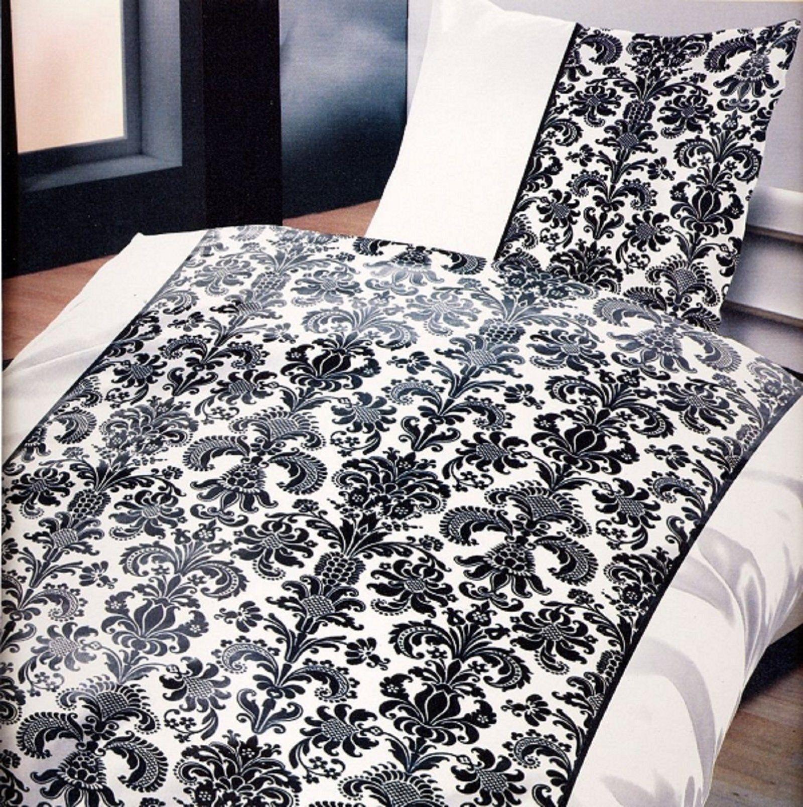 Bettwäsche 135x200 Cm 4 Tlg Schwarz Weiß Ornamente 2 Garnituren