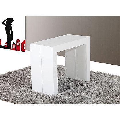 consolle tavolo paride allungabile in mdf laccato bianco cm 45,5 ... - Tavolino Laccato Company