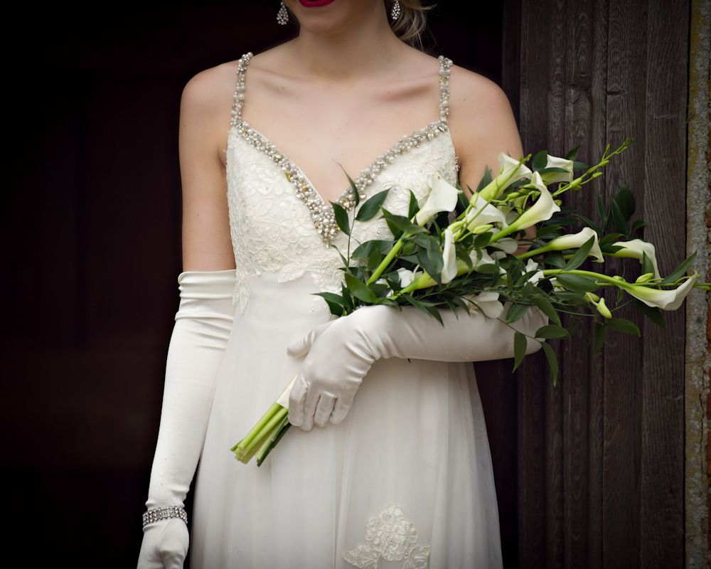 Over The Arm Bridal Bouquet 1920 S Style Also Gloves Purple