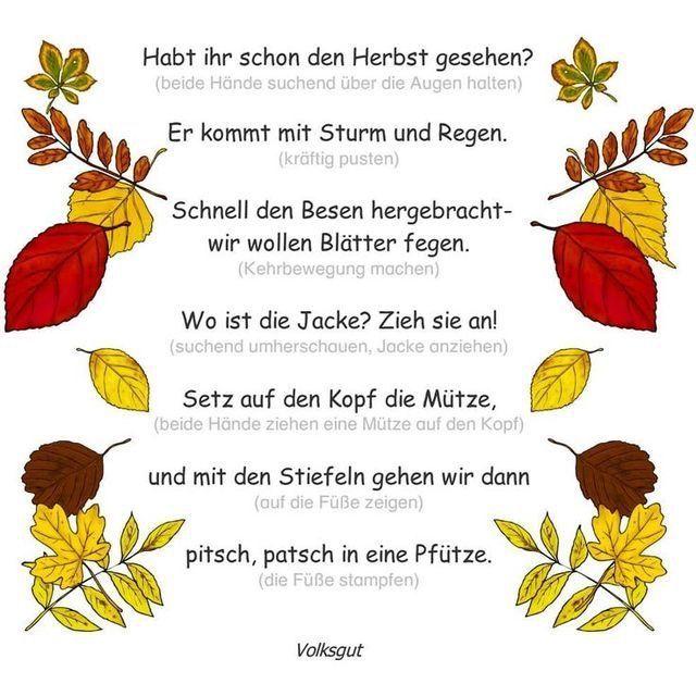 Pin Von Hannelorestrohdiek Auf Herbst | Fingerspiele