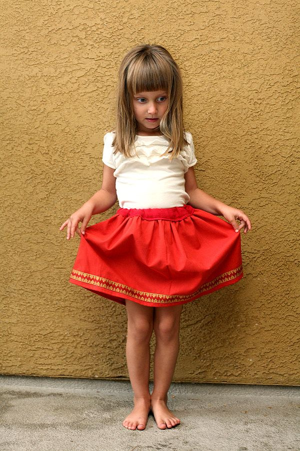 Cotton red skirt for girls (white eyelet orange lace outfit ...