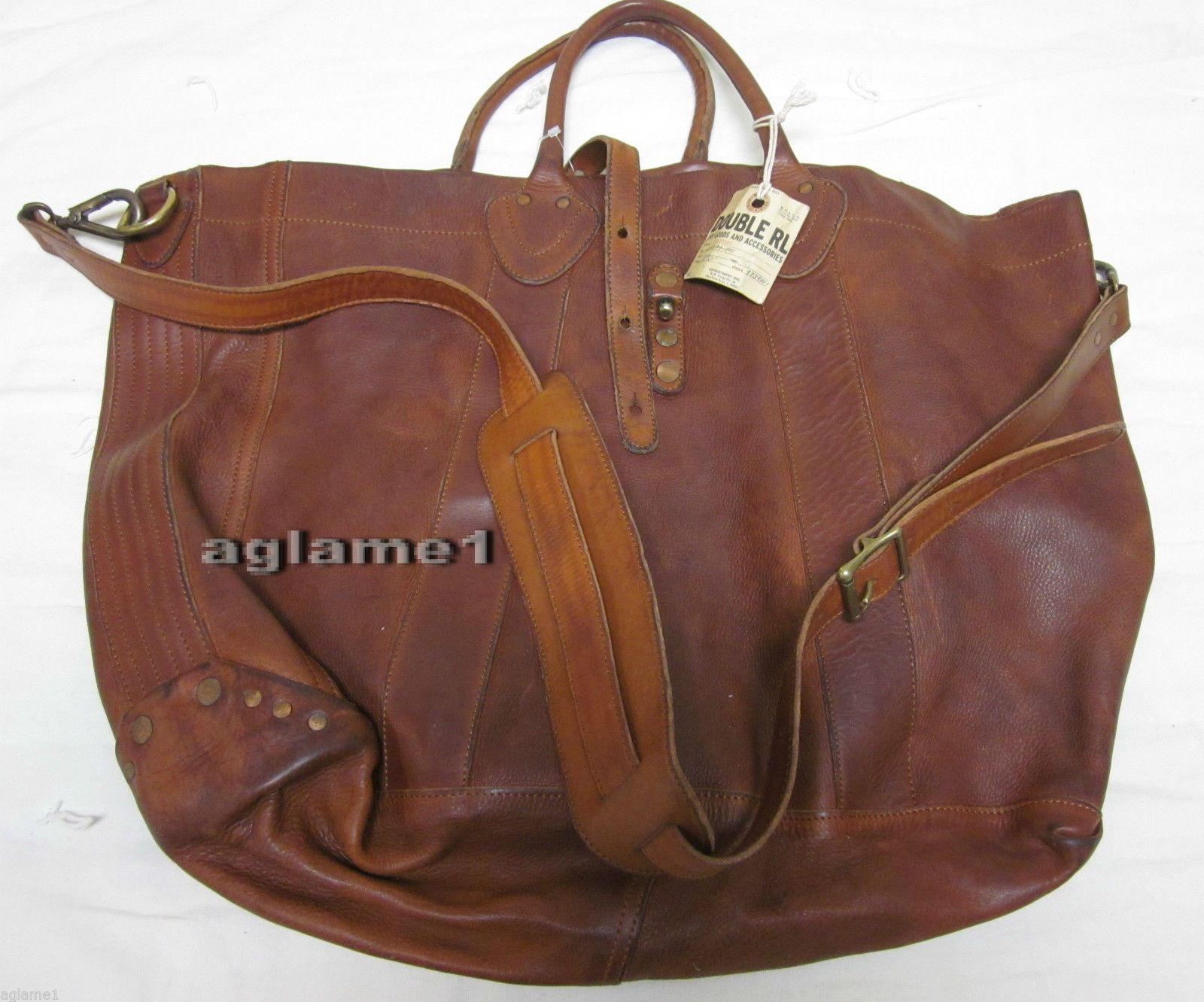 d74d7554b21 Last1 Ralph Lauren Vintage RRL Double RL Distressed Rough Leather Tote Bag  Italy