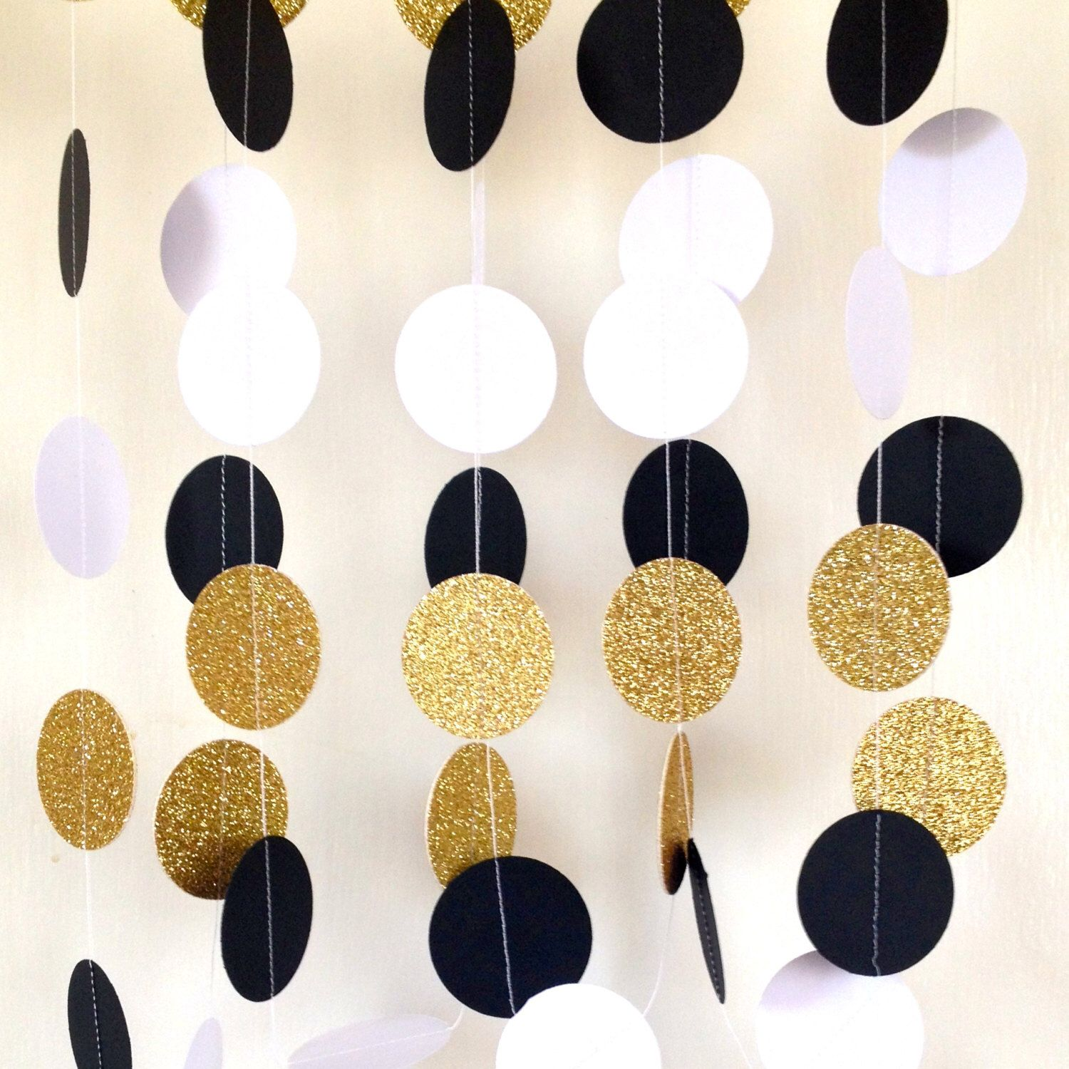 Art deco backdrop for photos wall decor party decoration 1920 s - Great Gatsby Themed Wedding Garland Paper Garland Black White Gold Bridal Shower Baby Shower
