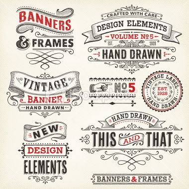 Banners and Frames Hand Drawn Royalty Free Stock Vector Art Illustration