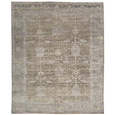 "Astoria Grand Davenport Hand-Knotted Pewter Area Rug Rug Size: 8'6"" x 11'6"""