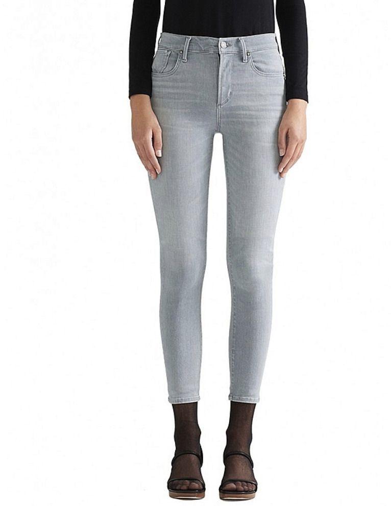 AGOLDE Sophie High Rise Skinny Crop Slim Denim Jeans Light Faded Grey $198 #112