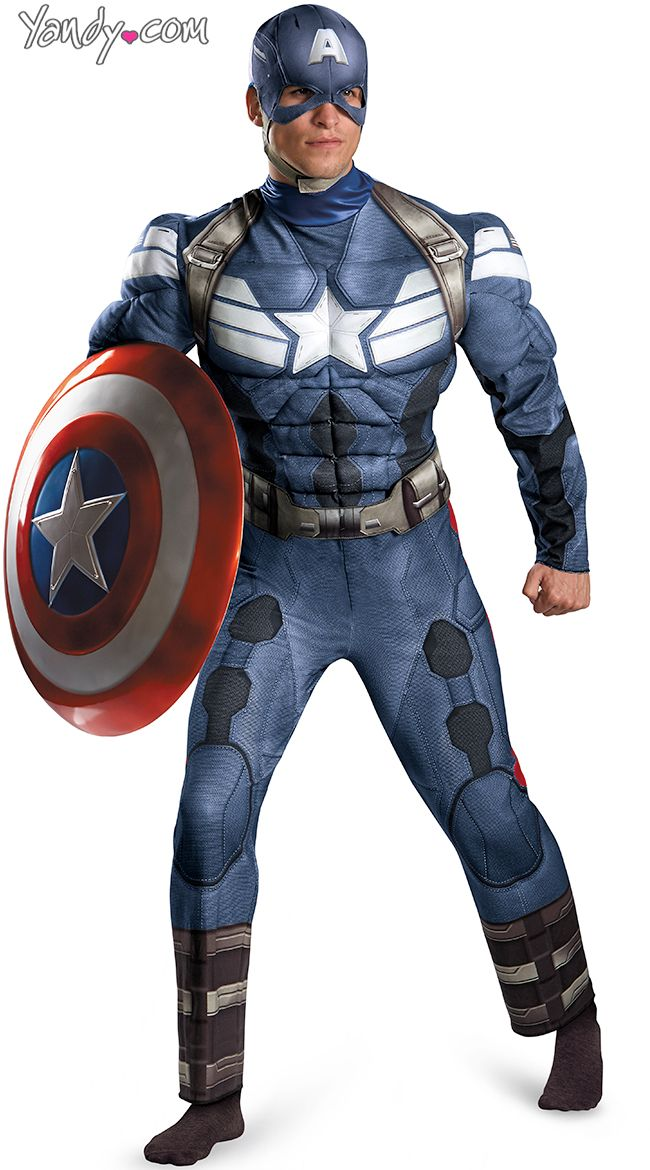 mens muscular captian america costume superhero costumes for men mens halloween costume ideas - Classic Mens Halloween Costumes