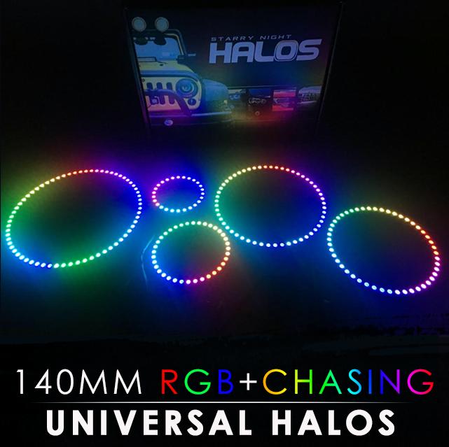140MM Black PCB RGB + Chasing Starry Night Halos (Pair)