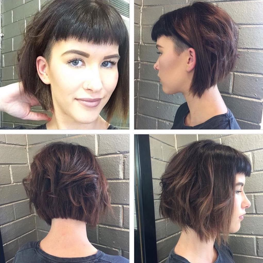 How,to Hairstyle Tutorial , Short Angled Undercut Bob with Messy Waves and  Baby Fringe Bangs