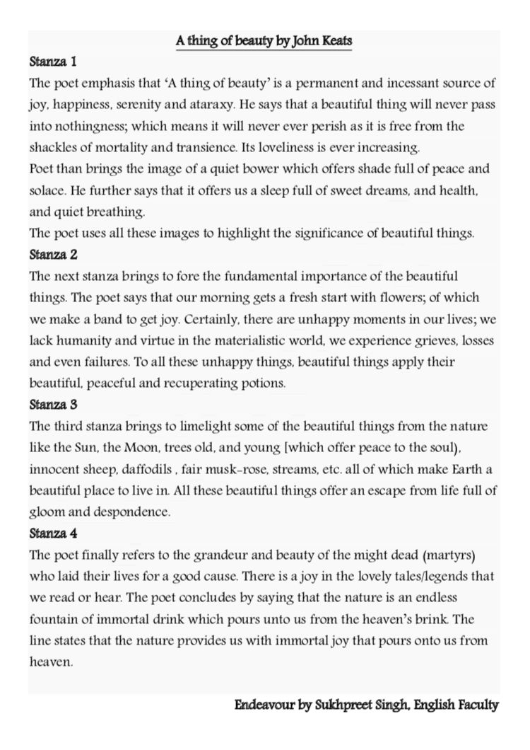 A Thing Of Beauty Poem Explanation By Sukhpreet Singh Pgt English Flower Lover John Keat Theme