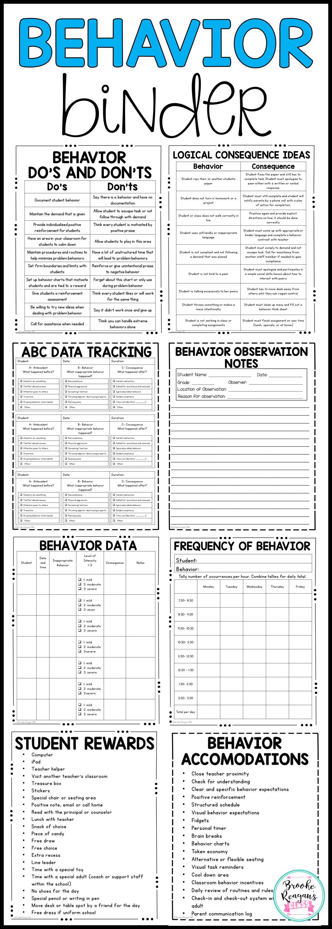 Behavior Binder Abc Data Behavior Tracking And Behavior