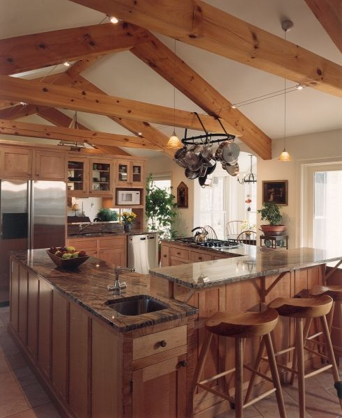Post and beam dream maine custom timber frame home builder for Post and beam kitchen ideas