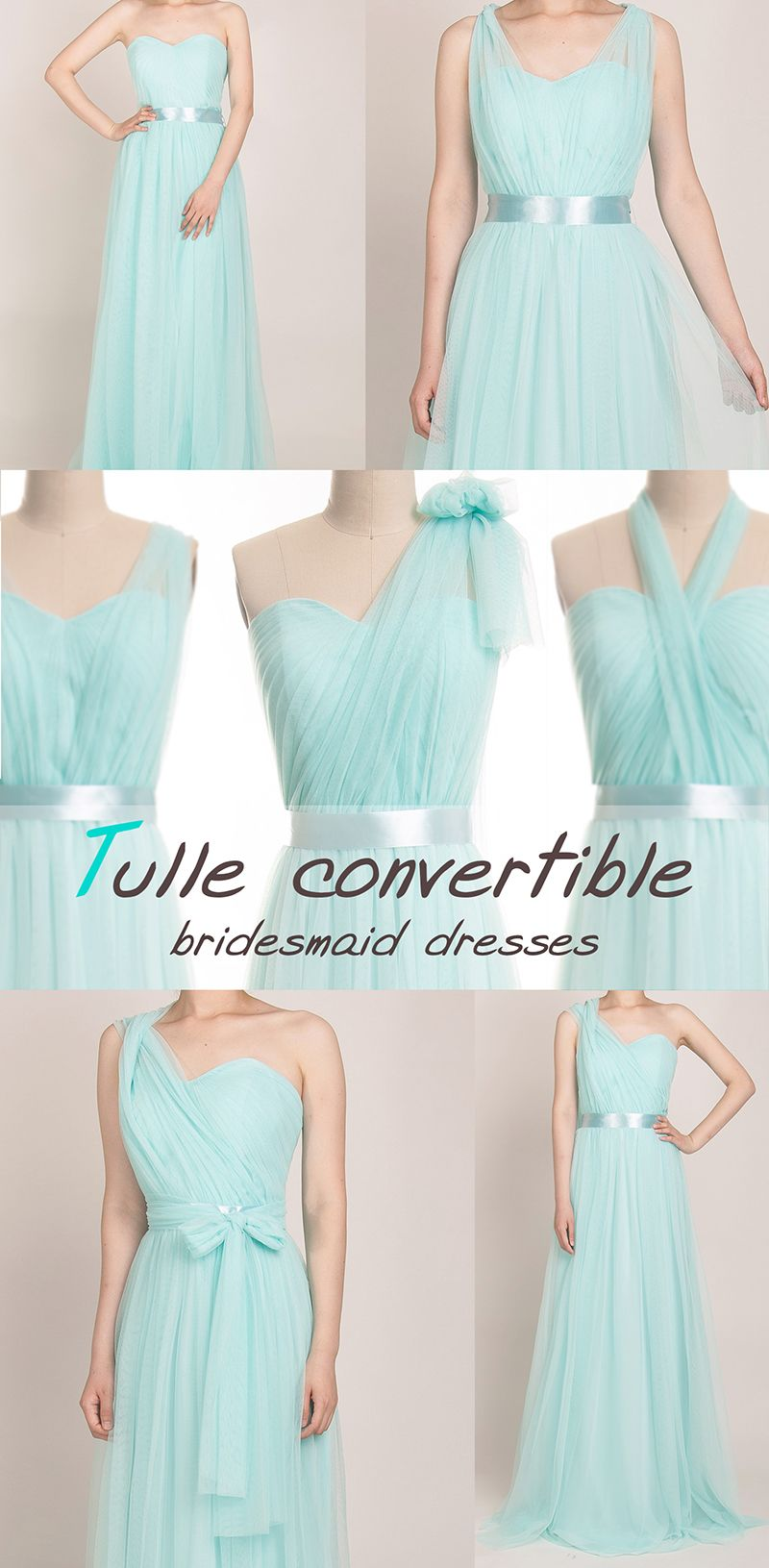 Tulle Convertible Multi-wear Bridesmaid Dress TBQP307   Mint blue ...