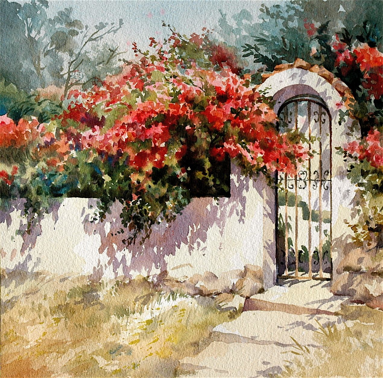 """""""Spanish Arch"""" watercolour by Trevor Waugh ©"""