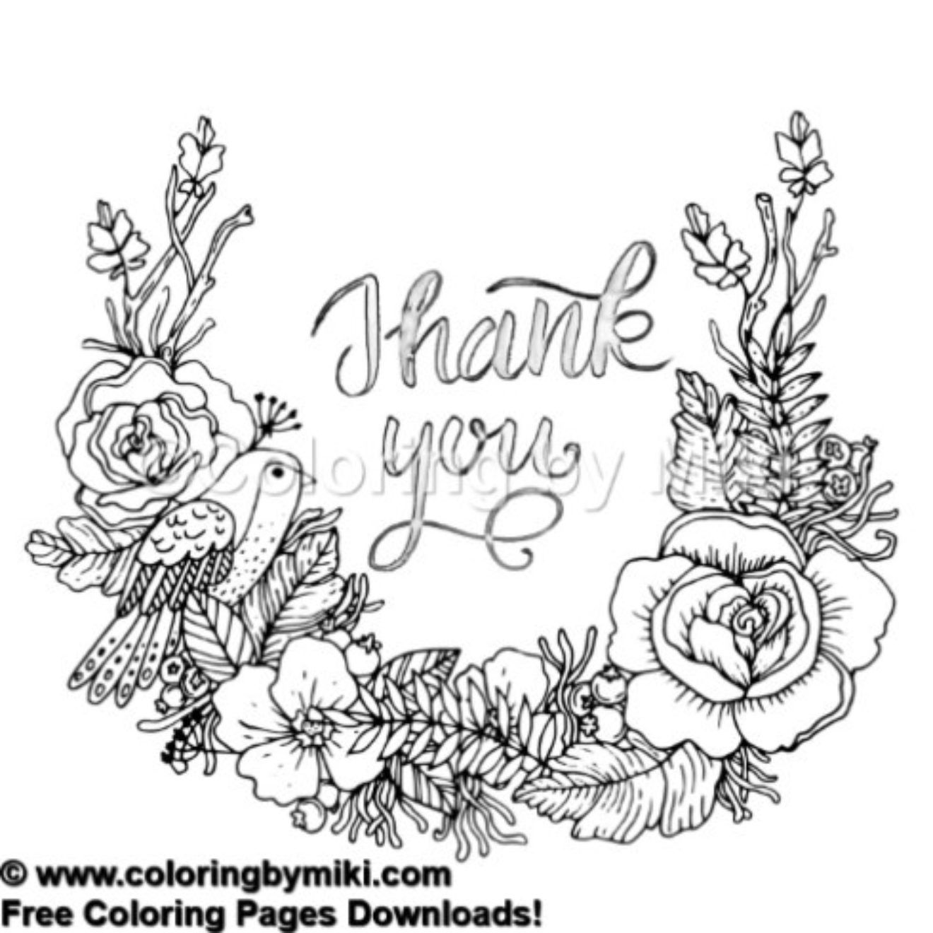 Thank You Note Flower Wreath Coloring Page #485 (With