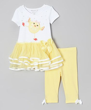 9e1dfcf548426 Loving this White & Yellow Bird Tunic & Leggings - Infant, Toddler & Girls  on #zulily! #zulilyfinds