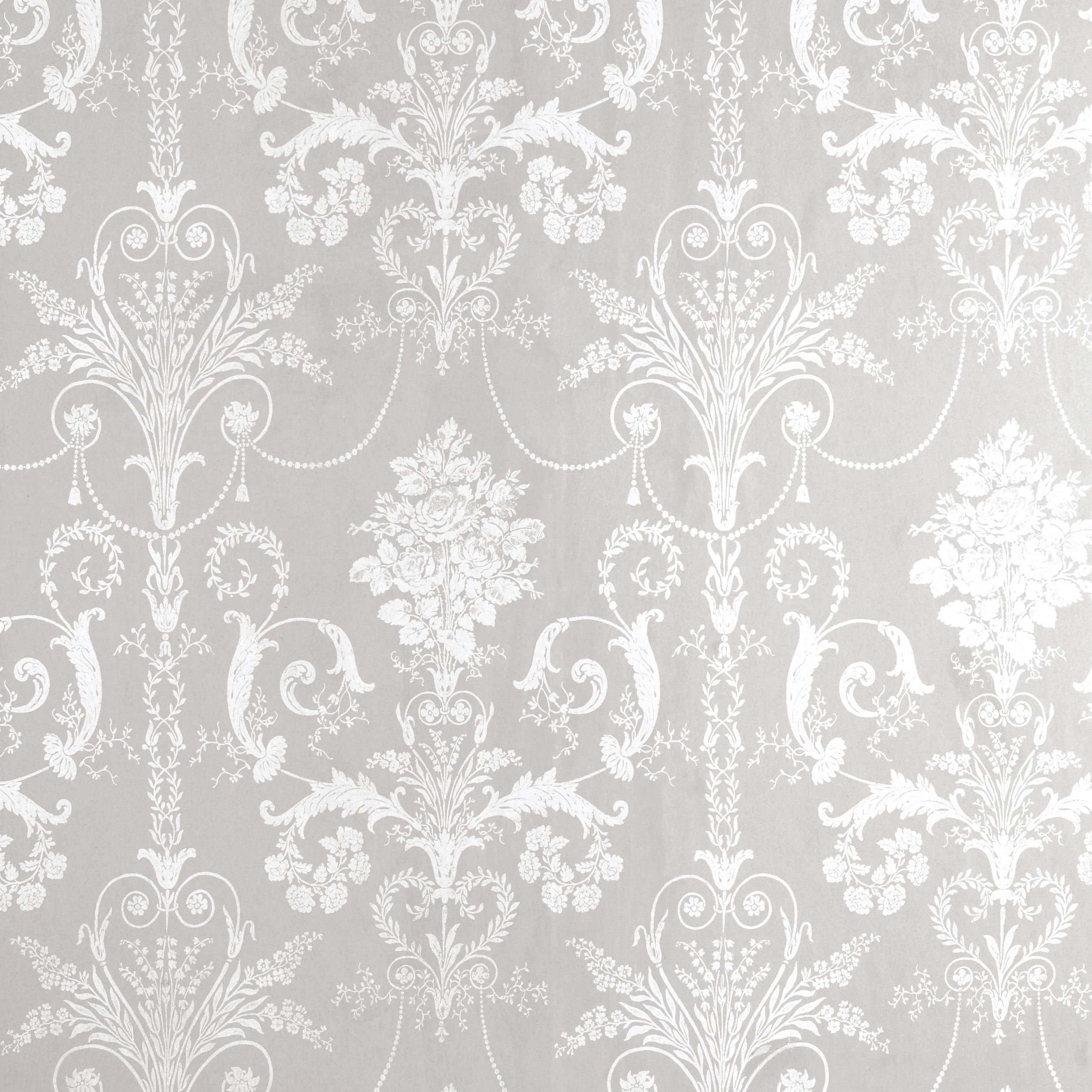 White dove ornament - Josette White Dove Grey Damask Wallpaper At Laura Ashley