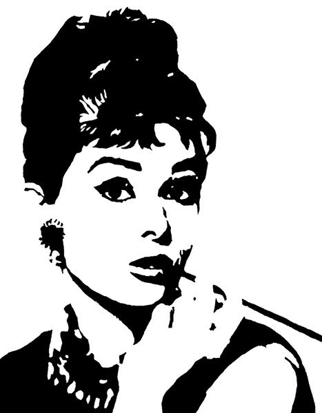 Audrey Hepburn monochrome pop art, black  white stencil art, hand