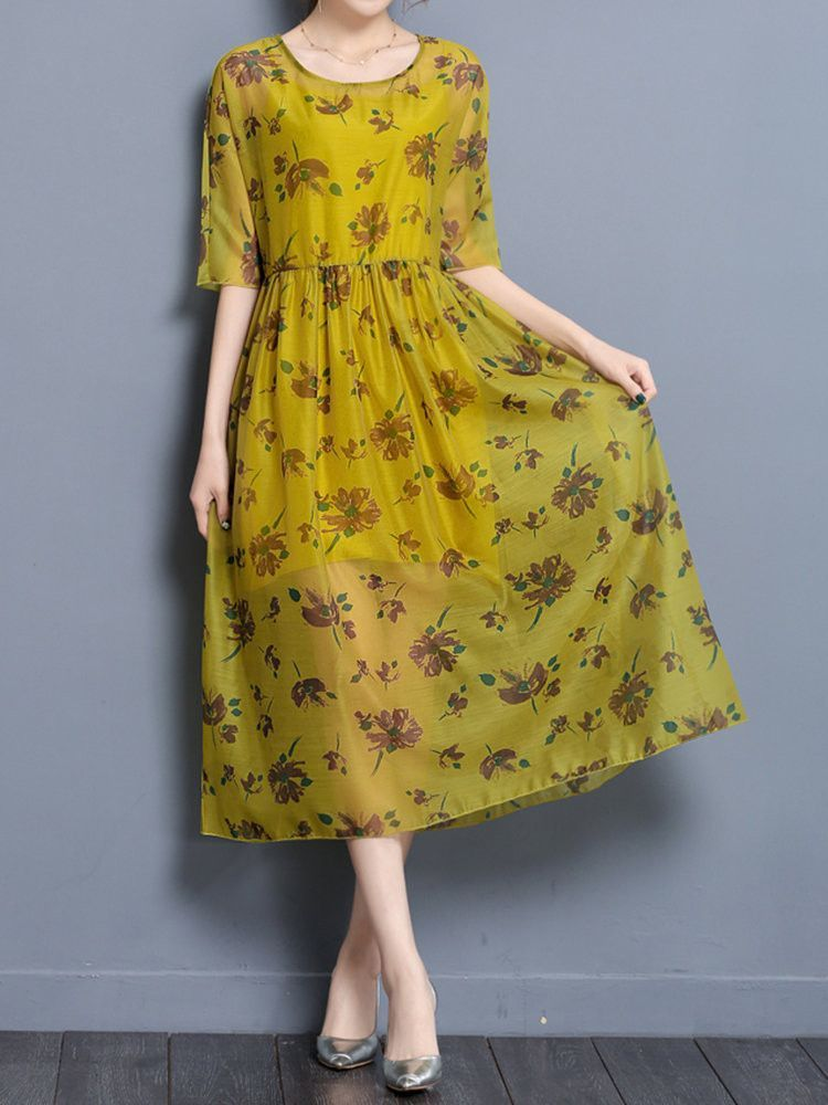 c83558428988 Brand: No Specification: Sleeve Length:Half Sleeve Neckline:O-neck Color:Yellow  Style:Elegant Dress Length:Mid-Calf Pattern:Floral Printed ...