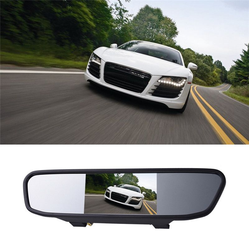 High Resolution 43 Inch Color HD LCD Car Rearview Mirror Monitor 169 Screen DC 12V For DVD Camera VCR