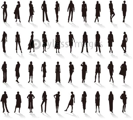 女性のファッション シルエットの写真 イラスト素材 Xf3455248071