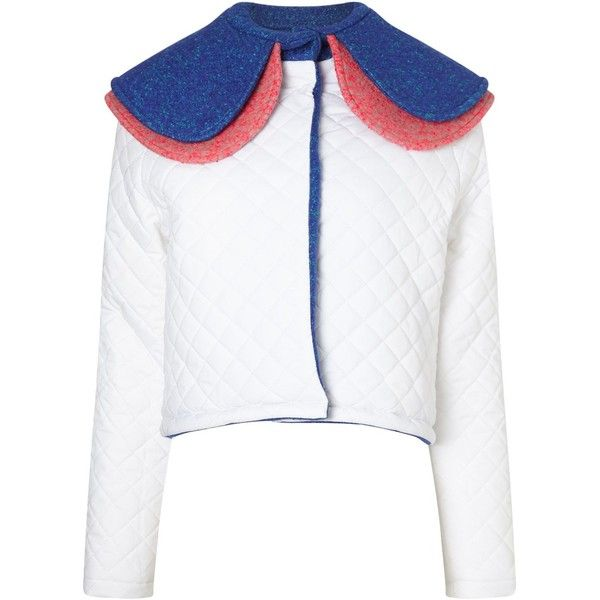 Anna K White Quilted Oversized Collar Jacket (2.271.185 IDR) ❤ liked on Polyvore featuring outerwear, jackets, multi, white quilted jacket, long white jacket, cropped jacket, white cropped jacket and long jacket