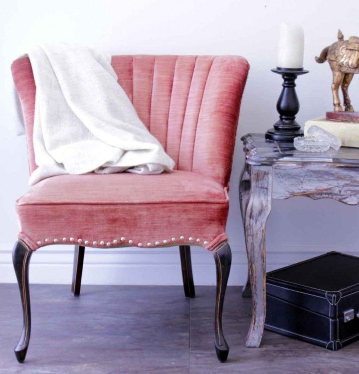 Love this Seating Vignette! pink upholstered side chair Antique Side ...