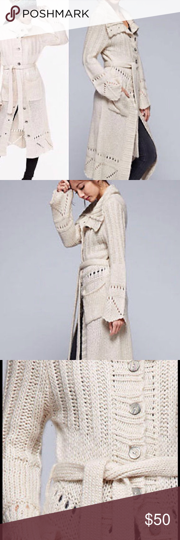 Long Ivory love stitch duster coat cardigan maxi NWT | Maxi ...