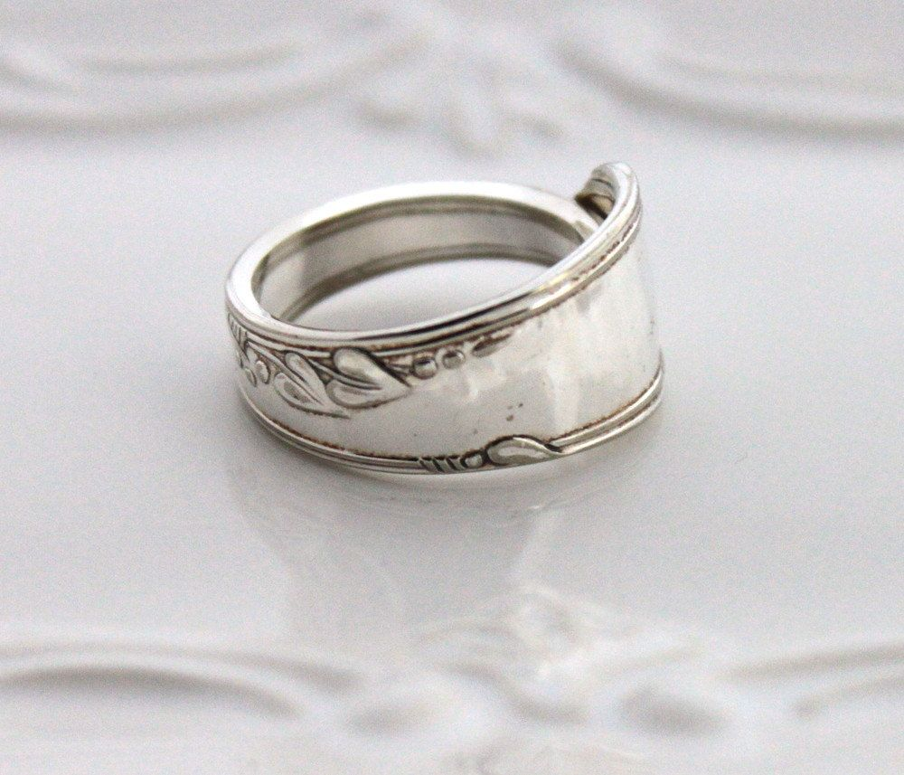 Spoon Ring, THUMB, Forefinger Ring - HEATHER aka MEADOWBROOK 1936 - Spoon Jewelry - Made In Usa - Size 12 by SilverwareCreations on Etsy