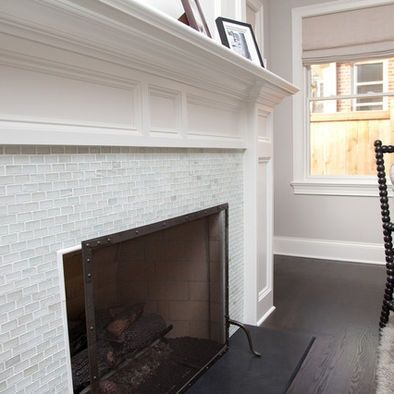 Fireplaces white mantel and glass tile tiles in fireplace repinned from also